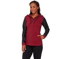 Linea Leisure by Louis Dell'Olio Zip Hoodie w/ Faux Leather Sleeves