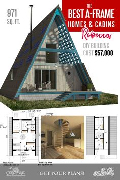 The newest plans for A-frame house - Rebecca. Take a look at other inexpensive and easy-to-build A-frame house plans. Read about cons and pros of A-frame cabins and small homes. Small Cabin Plans, A Frame House Plans, Small House Floor Plans, Cabin Floor Plans, How To Frame A House, A Frame Floor Plans, Log Cabin Plans, Build A Frame, Building Costs