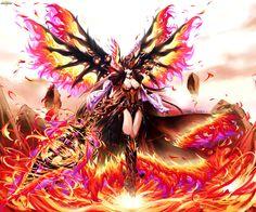 Brave Frontier Fanart: Phoenix Wings goddess Lava by bunny15539