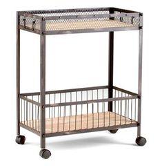 Industrial Loft Raw Steel Reclaimed Wood Iron Serving Bar Cart