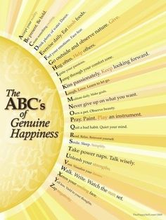 Love this :) The ABC's of genuine happiness