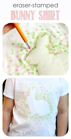 Eraser-Stamped Easter Bunny Shirt - Made with Freezer Paper and a pencil eraser!