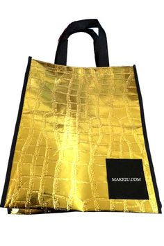 Golden Laminated texture non woven bags promotion eco shopping tote bags waterproof shopping bags