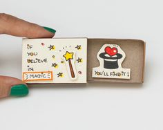 Cute Encouragement Card/ Inspiring Friendship Card Matchbox / Gift box / Message box / If you believe in Magic you will find it by shop3xu on Etsy https://www.etsy.com/listing/247354622/cute-encouragement-card-inspiring