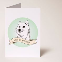 Ideas Birthday Card Illustration Hand Drawn Etsy For 2019 Birthday Greetings For Daughter, Happy Birthday Dog, Father Birthday, Birthday Card Template, Birthday Cards, Doge Meme, Birthday Party Photography, Birthday Decorations, Diy Cards