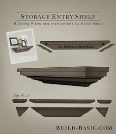 HIDDEN STORAGE in this DIY Crown Molding Shelf. Click the image for FREE building plans by @BuildBasic www.build-basic.com #DIY #Woodworking #BuildingPlans