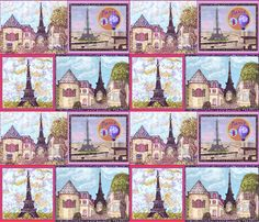 3 Paris Cityscapes And The Eiffel Tower by Kristie Hubler was inspired by Paris, France, and as well, the Paris Las Vegas resort indoor shop facades, but mainly Paris, France.  It features pointillism rendered landscapes, and non-pointillism rendered landscapes, some whimsical, like the top left and bottom right images, and some inspired by photos, like the top right and bottom left images.  Great for quilt blocks, to place and sew on other fabric products for finished products, to place in…