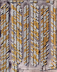 Hundreds of school buses are seen at an assembly plant in Tulsa, Oklahoma, USA. The standard American school bus is 45 feet meters) long and has a seating capacity of up to 90 passengers. Oklahoma Usa, Bell Ringers, Middle School Classroom, Cooperative Learning, Image Of The Day, Foto Art, Aerial Photography, School Buses, Seating Capacity