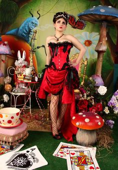 GYPSY - Red Black Burlesque Corset Costume Halloween prom saloon dress. $295.00, via Etsy.