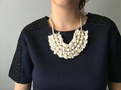 Textile Jewelry, Boho Chic,  Contemporary Jewelry by cestjolijewelry #textilejewelry #linen #fringe