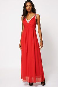 NEW Red Diamante Embellished V Neckline Evening Dress. UK 6-8. £25.99 shipped. Click to buy.
