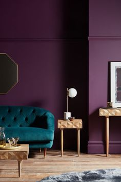 Buy Light Brown John Lewis & Partners + Swoon Franklin Side Table from our Side Tables range at John Lewis & Partners. Purple Rooms, Purple Walls, Purple Living Rooms, Burgundy Walls, Purple Interior, Room Interior, Modern Interior, Bedroom Wall Colors, Room Color Schemes