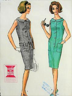 1960s MOD Slim Dress McCalls 7807 Bust 34 Vintage Sewing Pattern