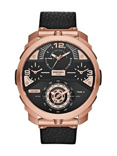 22cfa5c730d Diesel DZ7380 Machinus Rose Gold Stainless Steel Black Leather Men s Watch  Mens Watches Leather