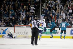 San Jose Sharks forward Patrick Marleau reacts after scoring a third period goal (Oct. 3, 2013).