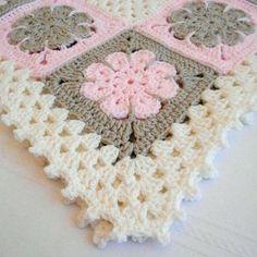 Crochet Pattern – Easton Baby Afghan Pattern – Blanket Babyghan – Throw Blanket or Lapghan Pattern – PDF Format – Granny Square Crochet Flower Squares, Baby Afghan Crochet Patterns, Baby Blanket Crochet, Crochet Motif, Knitting Patterns, Knit Crochet, Afghan Blanket, Crochet Blankets, Baby Blankets