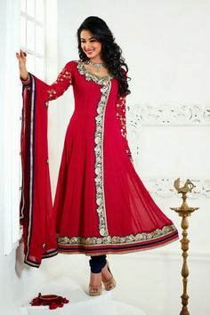 Sonal Chauhan Suits-Red Faux Georgette Salwar kameez with Embroidery and Lace Work