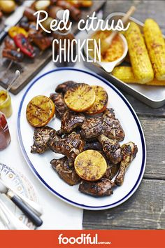 Red wine adds colour and flavour to the tangy orange marinade and helps to tenderise the chicken thighs. Hoisin Chicken, Chicken Drumsticks, Chicken Thighs, Moroccan Chicken, Honey Mustard, Dinner Tonight, Breakfast, Red, Recipes