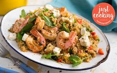 Couscous and prawn salad Prawn Salad, Recipe Search, Just Cooking, Couscous, Baking Recipes, Potato Salad, Delicious Desserts, Dinner, Drake