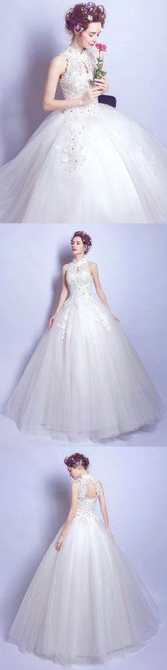 Ball Gown Wedding Dresses Lace, High Neck Tulle Bridal Dresses Long Appliques, Open Back Wedding Dress Modest