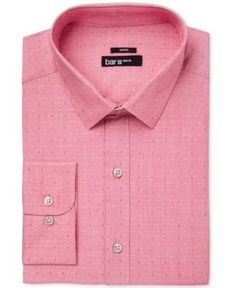 Bar Iii Men's Slim-Fit Stretch Easy Care Coral Dot Dobby Dress Shirt, Only at Macy's - Orange 15-15 1/2 32-33