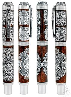 Montegrappa Mayan Calendar fountain pen or rollerball pen in silver