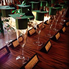 Grad toppers for champagne glasses for each of my sisters on commencement day! #alphaphi #sorority #graduation