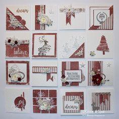 One sheet wonder - 16 Christmas cards from one patterned paper. Using Maja design - I wish. Using embossing folder, Rayher dies,Tim Holtz diesk flowers, glitter cardstock. Created by Kirsten Hyde for Hobbykunst.