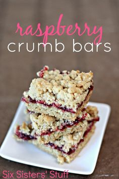 Raspberry Crumb Bars are quick and easy to make - and so delicious! SixSistersStuff.com