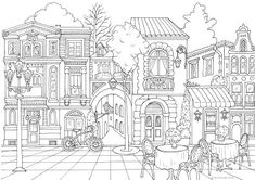 Horror Scenes - Haunted House - Printable Adult Coloring Pages from Favoreads House Colouring Pages, Summer Coloring Pages, Heart Coloring Pages, Printable Coloring Sheets, Printable Adult Coloring Pages, Flower Coloring Pages, Disney Coloring Pages, Animal Coloring Pages, Free Coloring Pages