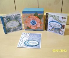 """3 x 3"""" note cards and box gift set. Paisley Petals Designer Series paper (Stampin Up!)"""