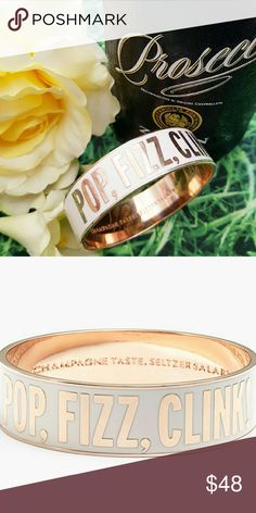 "Kate Spade ""Pop, Fizz, Clink"" Idiom Bangle Gorgeous, GUC Kate Spade ""Pop, Fizz, Clink"" idiom bangle bracelet with 12K rose gold- plated hardware and ""Champagne Taste, Seltzer Salary"" stamped on the interior. Price reflects light tarnishing on metal from normal wear. Ships w/ Kate Spade dust bag. kate spade Jewelry Bracelets"