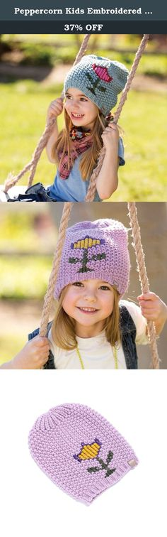 Peppercorn Kids Embroidered Tulip Beanie - Lilac Purple - L (4-6Y). Super soft with delightful cross-stitch embroidery, this Tulip Beanie is the perfect addition to your wardrobe for crisp fall days. With a simple stitched tulip flower, this slouchy beanie is a lovely reminder of spring.