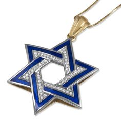 Gold Intertwining Star of David Blue with Diamonds (Available in White or Yellow Gold), Jewish Jewelry Opal Jewelry, Jewelry Art, Star Necklace, Arrow Necklace, Wedding Dressses, Jewish Jewelry, Star Of David Pendant, Chains For Men, Necklace Designs