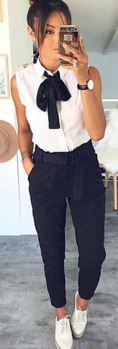 #winter #outfits white sleeveless collard shirt and pair of black pants. Pic by @chicnchic_factory.
