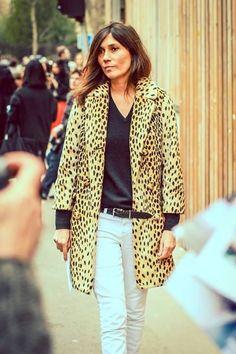Emmanuelle Alt | leopard coat, black v-neck sweater, white jeans