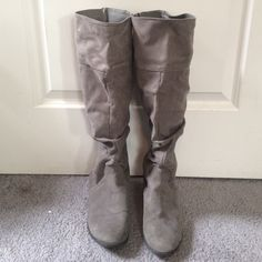 Grey Suede Knee High Boots Suede boots that hit right at the knee. Very comfy and worn a few times but in otherwise good condition! Forever 21 Shoes Over the Knee Boots