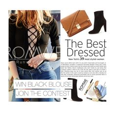 """""""WIN A ROMWE BLACK LACE UP BLOUSE"""" by merima-kopic ❤ liked on Polyvore featuring Gianvito Rossi and Forever 21"""