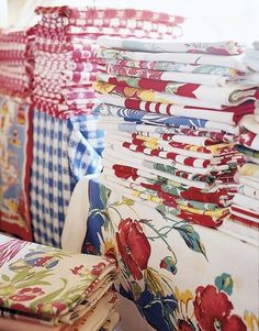 colorful vintage tablecloth collection