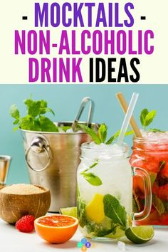 Non-Alcoholic Drink Recipes - Mocktails for Sober Living . Non-Alcoholic Drink Recipes – Mocktails for Sober Living Mocktails – non Best Non Alcoholic Drinks, Drinks Alcohol Recipes, Cocktail Recipes, Drink Recipes, Refreshing Drinks, Summer Drinks, Kombucha, Alcholic Drinks, Sober Living