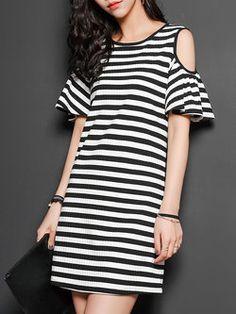 Black Off-shoulder Stripes Casual Mini Dress