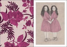 #twins #family #wallpapers #victorian #magenta #grey #pink #flowers #leaves #pencil #pattern #identity #illustration