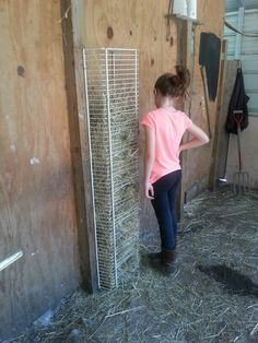 DIY hay feeder.Turned an old shelf into a hay feeder for goats and mini horses