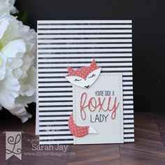 Foxy Lady card made with Lil' Inker Designs Hey, Foxy clear stamps and dies