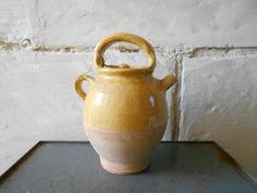 Antique French glaze pottery vinegar keeper ochre by Birdycoconut