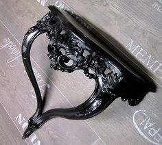 Spiegel KONSOLE BAROCK Schwarz 36 x 40 x16,5 cm Retro Wandspiegel ablage Neu 81 | eBay