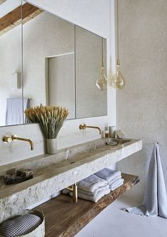 Stylish natural design of stone villa in Mallorca #bathrooms #interiordesign Bad Inspiration, Bathroom Inspiration, Home Decor Inspiration, Bathroom Ideas, Bathroom Trends, Decor Ideas, Small Bathroom, Colorful Bathroom, Natural Bathroom