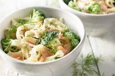 Tagliatelle met gerookte zalm en broccoli
