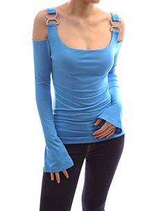 PattyBoutik Unique Cut Out Shoulder Bell Sleeve Boho Blou...