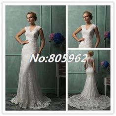 Find More Wedding Dresses Information about Sexy 2014 Mermaid V Neck Lace Long Wedding Dresses Lace Cap Sleeve Sleeveless Floor Length Bridal Gown See Through back SD38,High Quality Wedding Dresses from Suzhou Romantic Wedding Dress Co. Ltd on Aliexpress.com